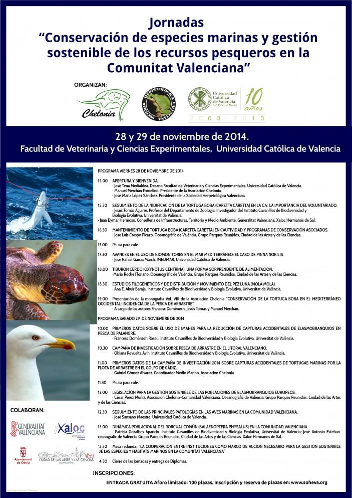 """CARTEL 703x993 Jornadas """"Conservación de especies marinas y gestión sostenible de los  recursos pesqueros en la Comunitat Valenciana"""""""