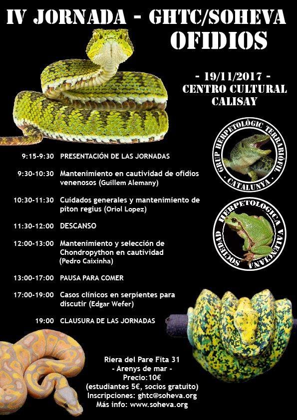 jornada ofidios IV Jornada GHTC/SOHEVA en Arenys de Mar: Ofidios
